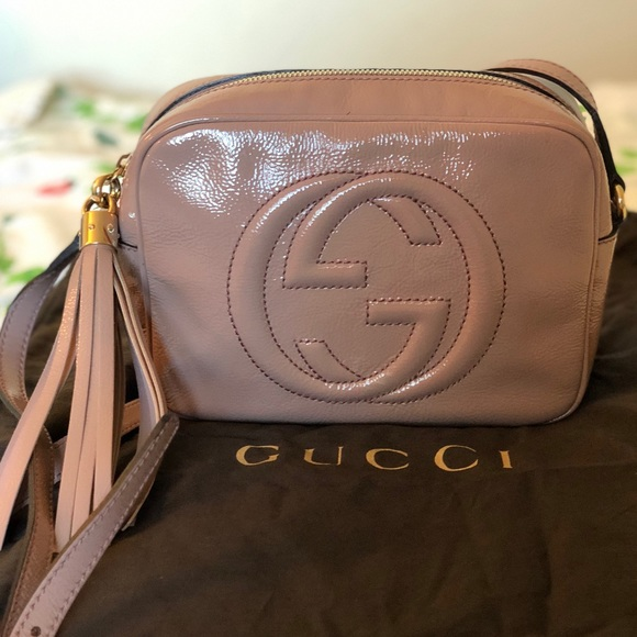 51d9563c00 Gucci Disco Soho Patent Leather Bag in Nude